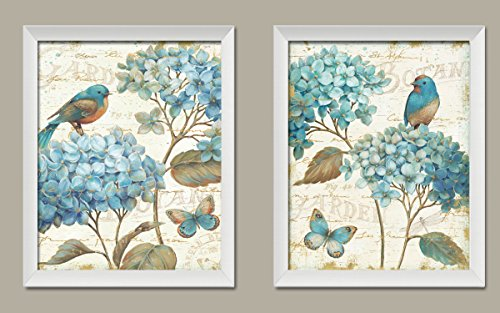 (Gango Home Décor Gorgeous Teal and Cream Watercolor-Style Hydrangea Florals, Birds and Buterfly Prints by Daphne Brissonnet; Two 11x14in White Framed Prints; Ready to Hang!)