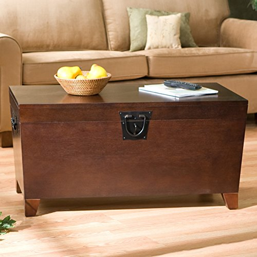 Danville Trunk Coffee Table with Lift-top Espresso Home Furniture Organizer Set Sleek and Functional Living Room Centerpiece in Contemporary Style and Usefulness,has Wooden Trunk Storage Unit That Helps You Organize Your Books,albums,family Artifacts (Trunk Style Coffee Table Set)