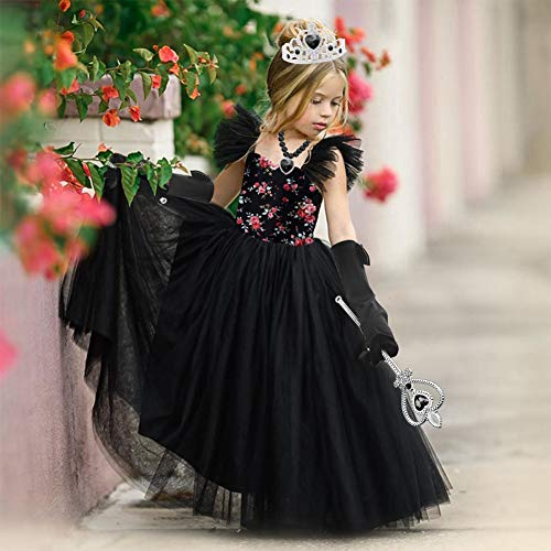 3 otters Princess Dress Up, Princess Costume Accessories Childrens Crown Magic Wand Gloves Necklace Earring Set Halloween Party Dress Up Girl Gift Black 6PCS