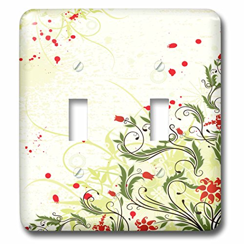 Anne Marie Baugh - Flowers - Pretty Red Tulip Flowers With Fancy Leaves - Light Switch Covers - double toggle switch (lsp_236139_2)