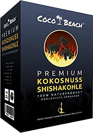 CocoBeach Premium Shishakohle (1 kg) - Naturkohle - 100% Kokosnuss [120 Minuten Brenndauer, starke Hitze, kein Eigengeschmack] P+K Handelsgesellschaft UG (haftungsbeschränkt)
