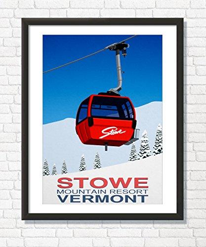 Steve Ash illustration Stowe Ski Resort, Vermont, Wall Art Decor Poster (29.7cm x 42cm)