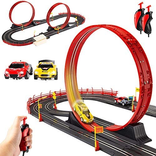 Best Choice Products Electric Slot Car Race Track Set Boy Kids Toy w/ 2 Battery Operated Cars, 2 Controllers, Customizable Courses, 360-Degree Loops, Working Lights