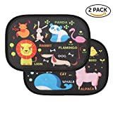Celefree Car Sun Shade, 2 Pack Baby Side Window Car Sun Shades Cling Sunshade for Car Windows, Auto Car Sunshades Protector with Maximum UV Protection for Your Child (Animal World)