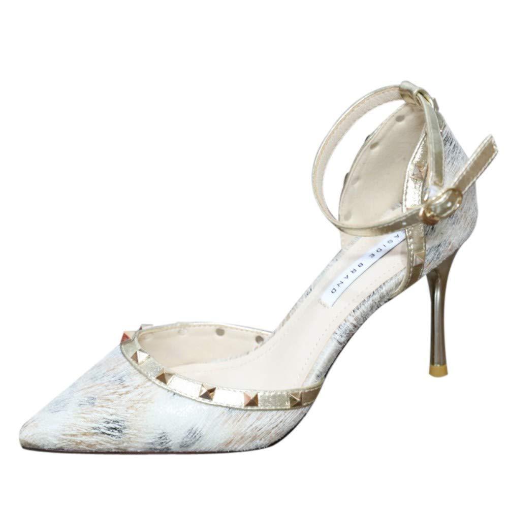 ZZDSH Stilvolle Schuhe Mit Spitzen Nieten Von Frauen Mit Hohem Absatz Und Flachem Mund Einzelne Schuhe 36