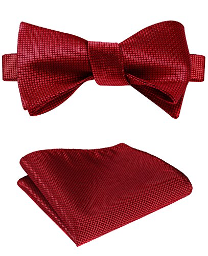 (SetSense Men's Solid Jacquard Woven Self Bow Tie Set One Size Pure Red)