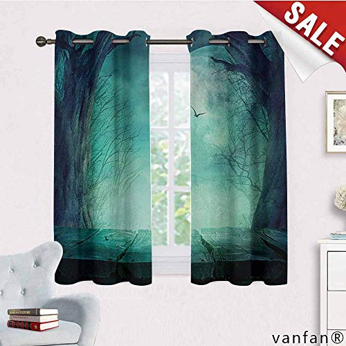 Big datastore Luxury Drapes and Curtains,Halloween,Spooky Teal Forest Moon and Vain Branches Mystical Haunted Horror Rustic Imagery Print,Specially Custom for You,Teal,W55 Xl63]()