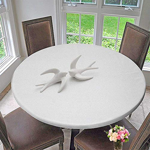 (Luxury Round Table Cloth for Home use Couple of White Porcelain Swallows in Love in a White Wooden Background for Buffet Table, Holiday Dinner 63