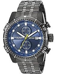 Akribos XXIV Men's AK852BKBU Round Blue Dial Chronograph Quartz Gray Bracelet Watch