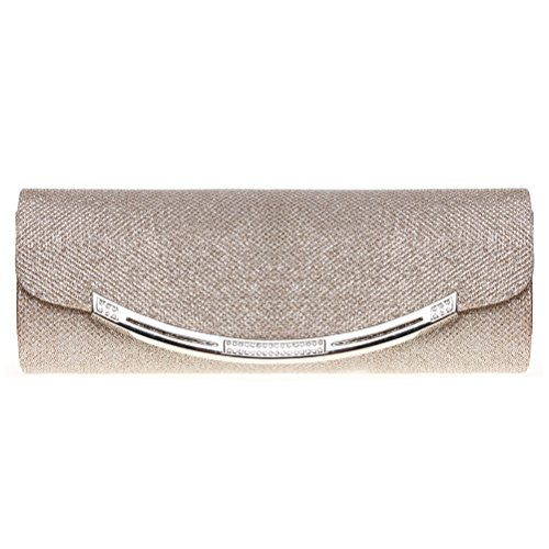 Clutch Bag Apricot - Evening Clutch, FASHIONROAD Womens Glitter Crystal Clutch Purse For Wedding And Party Apricot