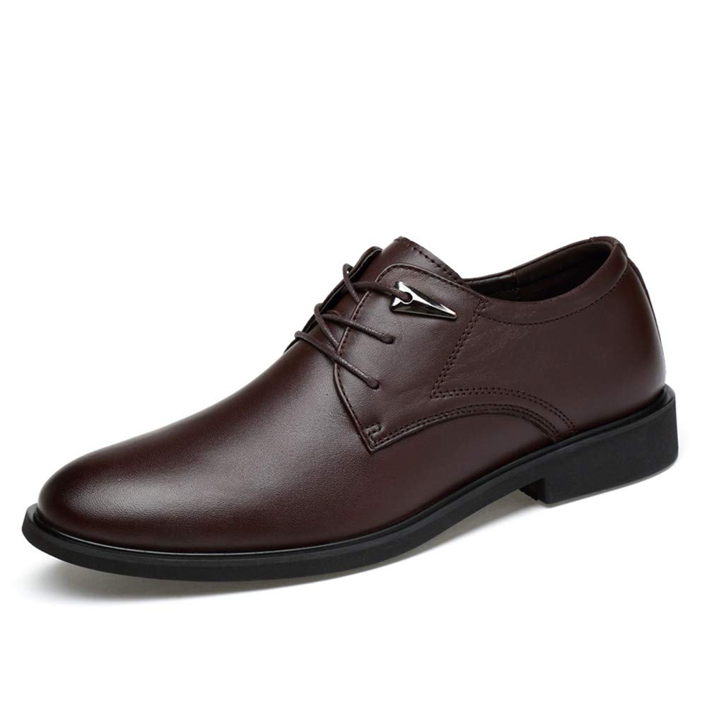 AFCITY Elegante Formelle Schuhe Geschäfts Oxford Runde Zehe einfache Klassische Formale Schuhe Männer Mode Schuhe Hochzeit (Farbe : Light Braun, Größe : 46 EU) Dunkelbraun