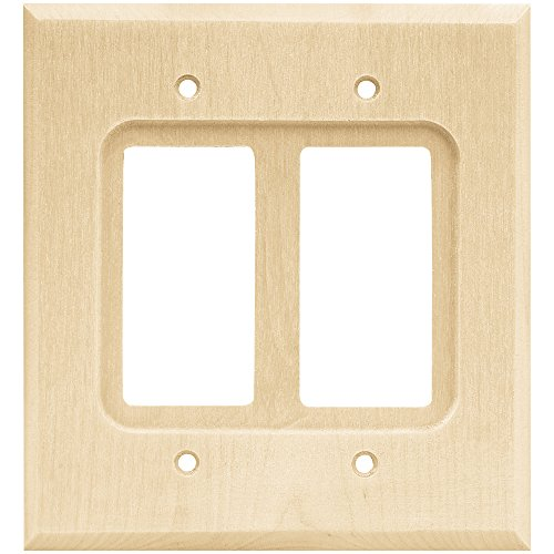 Franklin Brass W10400-UN-C Square Double Decorator Wall Plate/Switch Plate/Cover, Unfinished Wood