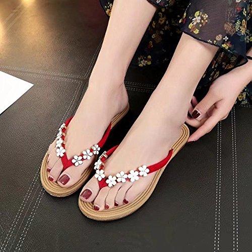 2018 Sommer neue koreanische flache Flip Flops Mode wilde rutschfeste Sandalen weiblich flach mit weichen Sperrholz Sandalen - 4 Arten optional ( Color : Green , Größe : 38EU ) Rot