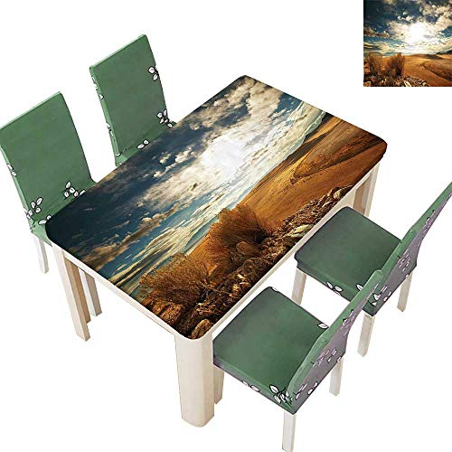 (Printsonne Polyester Tablecloth Table Cover Prairie Hot USA Mississippi River Valley with Idyllic View Image Orange Blue for Dining Room 54 x 72 Inch (Elastic Edge))