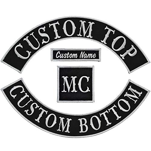 Custom Biker Vest Patch 4 Piece Set - Arch Style Tab and Rocker - Sew On