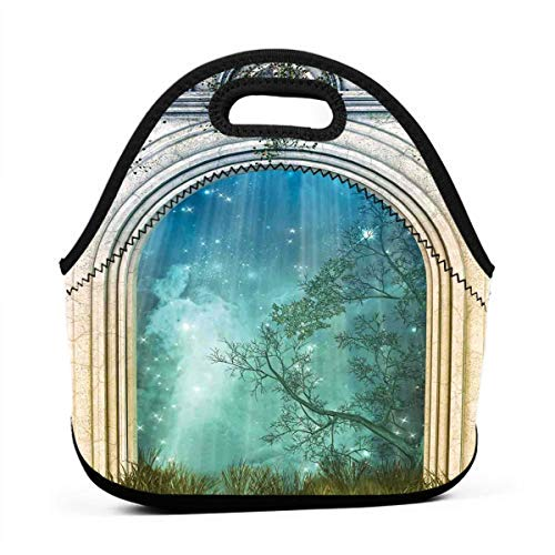Portable Lunch Bag Carry Case Tote Container Bags,Magic Ancient Curved Door In The Forest Mystic Surreal Nature World Print,Unisex Outdoor Travel Fashionable Handbag Pouch for Kids