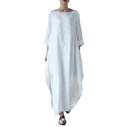 Womens Pocket Loose Baggy Dress, Franterd Ladies Cotton Casual Plus Size  Crew Neck Oversized Long Tops Maxi Dress (3XL, White)