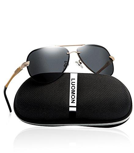 LUOMON LM007 Gold Frame/Grey Lens Mens Polarized aviator Sunglasses for men Pilot Glasses for ()