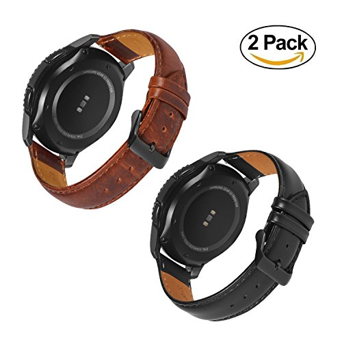 Gear S3 Bands Frontier with Quick Release Pins 22mm Genuine Leather Replacement Smart Watch Band for Samsung Gear S3 Frontier/S3 Classic Sports Smartwatch (Leather Black & Brown With Black Clasp) by Loxan