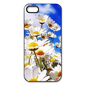 HOT sale, Beautiful Daisy Flower picture for black plastic iphone 5,5s case