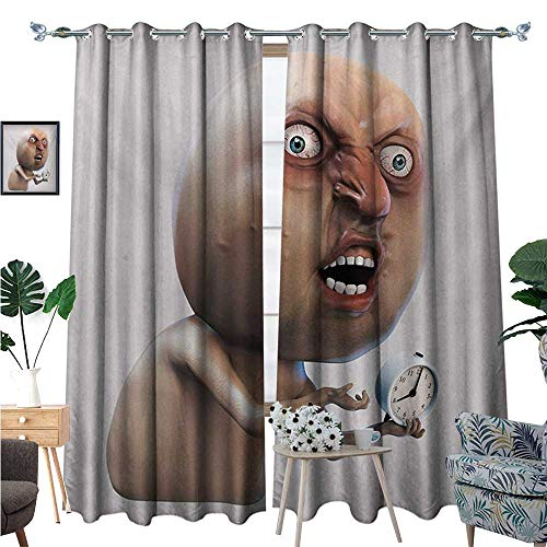 Humor Blackout Window Curtain Why You No Wake Me Up Internet Meme with Complaining Oversleep Face and Watch Image Print Customized Curtains W96 x L84 Tan