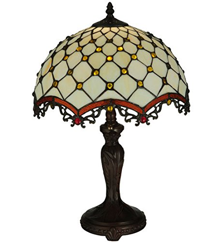 (Tiffany Style Stained Glass Light Mond & Jewel Table)
