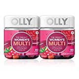 OLLY The Perfect Womens Gummy Multivitamin, 90 Day Supply (180 Gummies), Blissful Berry, Vitamins A, D, C, E, Biotin, Folic Acid, Chewable Supplement