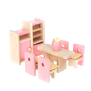 Dollhouse Dining Room Wooden Furniture Set Table Chair Display Unit Vase