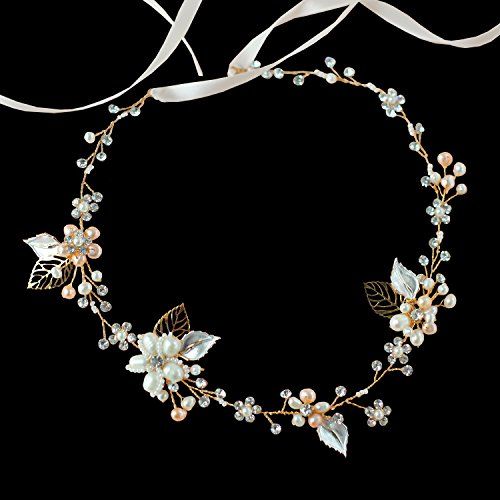 Oureamod Gold Tone Wedding Headbands Freshwater Pearls Prom Bridal Hair Accessories