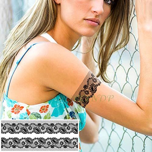 3 Piezas de Etiqueta engomada del Tatuaje Impermeable Encaje Flor ...
