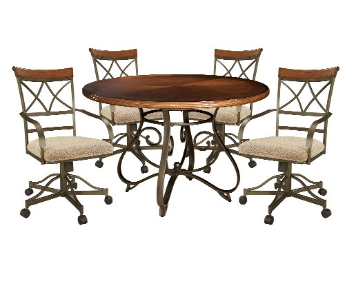 - Powell 697-413M2 5-Pc Hamilton Swivel Dining Set, Medium Cherry