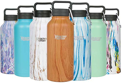 (Healthy Human Wood Collection Insulated Stainless Steel Water Bottle Stein - Cold 24 Hours/Hot 12 Hours - Double Walled Vacuum Flask - 32 oz Natural Wood)