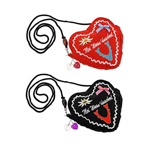 Trachtentasche Dirndl Tasche Handtasche Herz Form, Reißverschluss, abnehmbarer Trageriemen, Schürzenschlaufe (Rot)