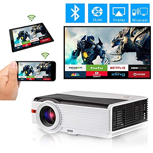 WiFi Bluetooth HDMI Projector 5000 Lumen Home Theater Multimedia LCD LED Smart Android 6.0 Video Proyector Support HD 1080P Wuxga Wireless Airplay Miracast HDMI USB VGA AV TV for Gaming Outdoor Movie