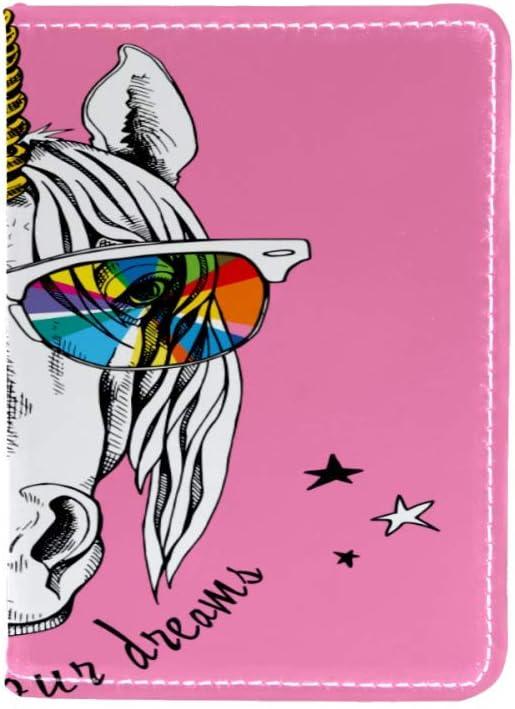 Juego de tarjetas de viaje de piel con diseño de unicornio para llevar gafas de sol y pasaporte, impermeable, multifunción, funda de protección de identificación de 4.5 x 6.5 pulgadas Color1 4.5x6.5 i