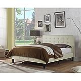 Rosevera B2Q-VY Hanke Upholstered Platform Bed, Queen, Ivory