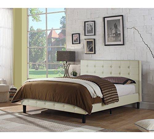 Rosevera B2F-VY Hanke Upholstered Platform Bed, Full, (Ivory Leather Match)