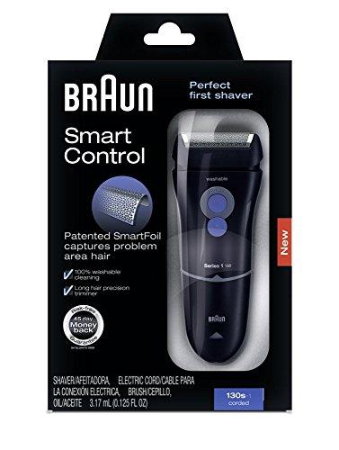 Braun Series 1 130s Men's Electric Foil Shaver Corded Electric Razor, Smart Control, Black