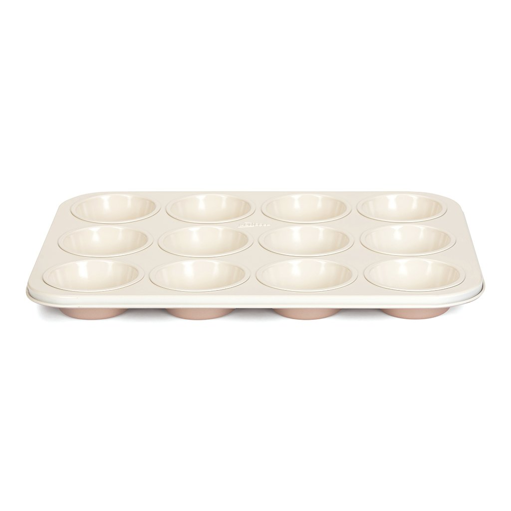 Patisse 03334 Ceramic Muffin Pan 12 Cups with Non-Stick Surface, Cream/Copper