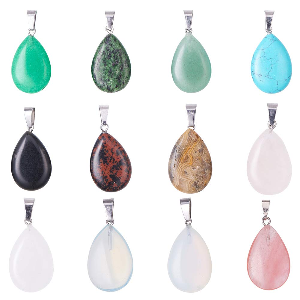 PandaHall Elite 24pcs Teardrop Water Drop Shape Healing Chakra Charm Beads Crystal Quartz Stone Dyded Gemstones Pendants for Necklace Jewelry Making Total 12 Colors PH PandaHall