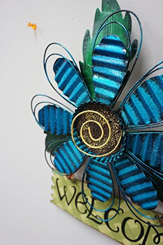 Review Metal Hanging Blue Flower