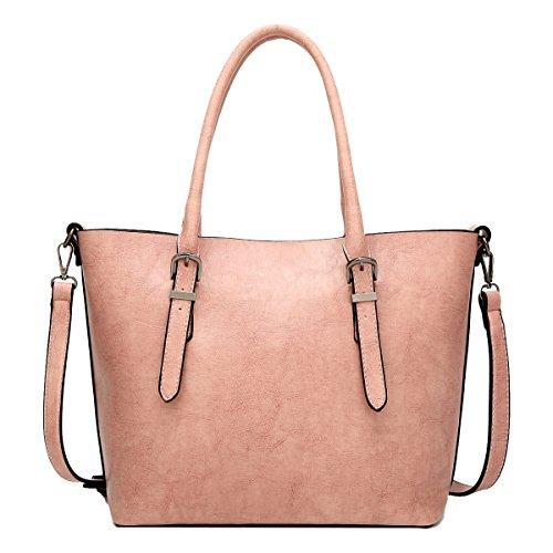 Yy.f Nuevos Bolsos De Moda Señoras Forma Sencilla Bolsa De Mensajero Del Hombro Portátil De Alta Capacidad La Bolsa Sólido Bolsos Multicolores Pink