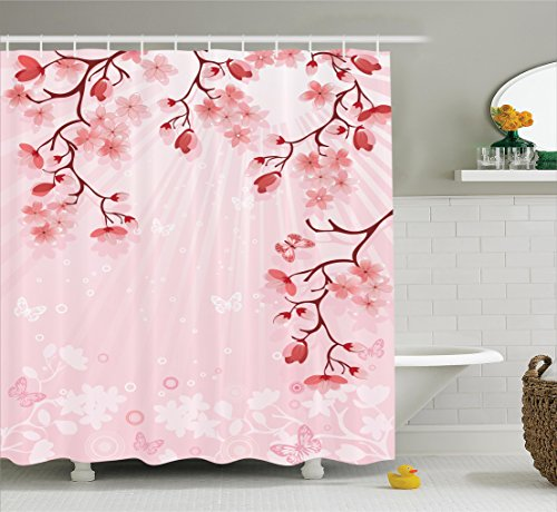 Ambesonne Asian Decor Collection, Japanese Cherry Blossom Sakura Buds Springtime Travel Destinations Seasonal Image Print, Polyester Fabric Bathroom Shower Curtain Set with Hooks, Salmon (Asian Cherry Bed)