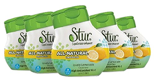 Stur Drinks - Lemonade Natural Water Enhancer Liquid Drink Mix Sugar Free Zero Calorie Vitamin C Stevia Make Your Own Fruit Infused Flavored Waters Makes 100 Drinks (Pack of 5)