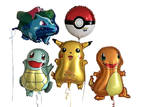 Large Pokemon, Pikachu & Friends Children's Birthday Party Balloons, 5-Pack over-2-feet-tall (26