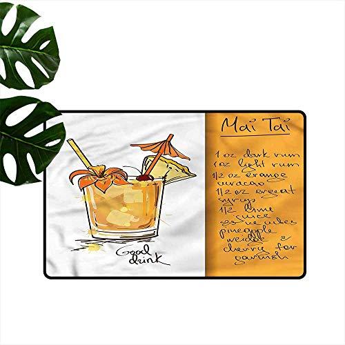 DONEECKL Modern Door mat Tiki Bar Mai Tai Cocktail Recipe with Anti-Slip Support W16 xL24 ()