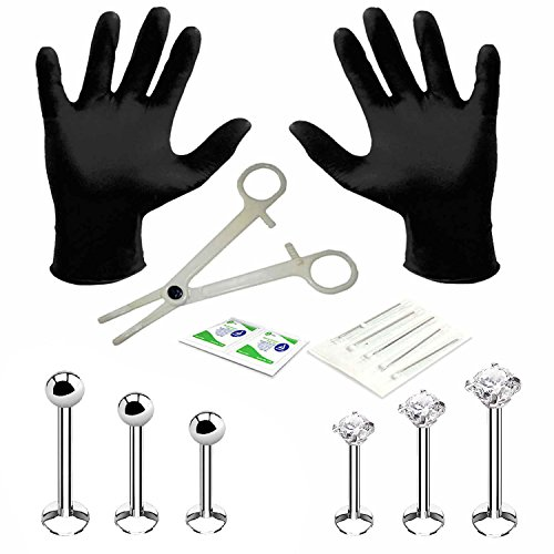 BodyJ4You Professional Body Piercing Kit 14 Pieces for Labret Monroe Lip Surgical Steel 16G (1.2mm) (Monroe Piercing Kit)