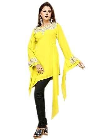 Jaibala Fashion Ärmel Partei tragen Tunika-Kleid in gelb: Amazon.de ...