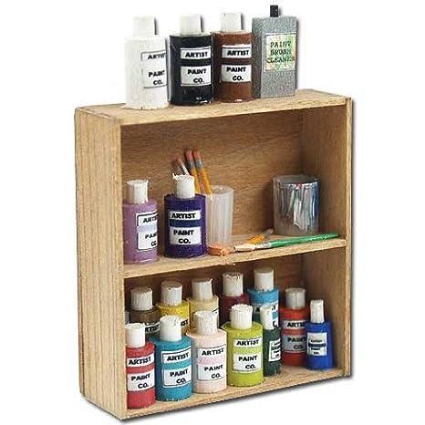 Amazon Com Dollhouse Miniature Art Supply Shelf Toys Games
