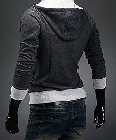 BOMOVO Herren Schrägzip Jacke Große Kapuze Hoodie Sweatshirt